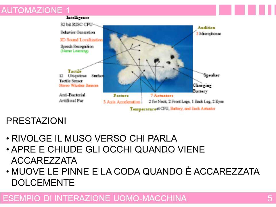 INTERAZIONE E INTELLIGENZA 4 AUTOMAZIONE 1 ASIMMETRIA NELLA INTERAZIONE UOMO-MACCIMA LUOMO ACQUISISCE FACILMENTE LE MODALITÀ DI FUNZIONAMENTO DI UNA MACCIMA I CALCOLATORI NON SONO IN GRADO DI COMPRENDERE ED INTERPRETARE LA PSICOLOGIA DELLUOMO LINTELLIGENZA ALLA MACCHINA PUÒ ESSERE FORNITA SOLO TRAMITE OPPORTUNI PROGRAMMI FINALIZZATI A TRASFERIRE LE AZIONI DI CONTROLLO CHE AVREBBE FATTO LUOMO NELLE STESSE CONDIZIONI OPERATIVE E AMBIENTALI