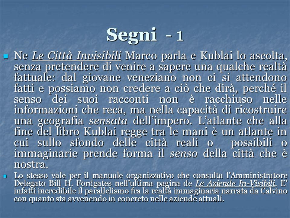 Segni - 1 Ne Le Città Invisibili Marco parla e Kublai lo ascolta, senza pretendere di venire a sapere una qualche realtà fattuale: dal giovane venezia