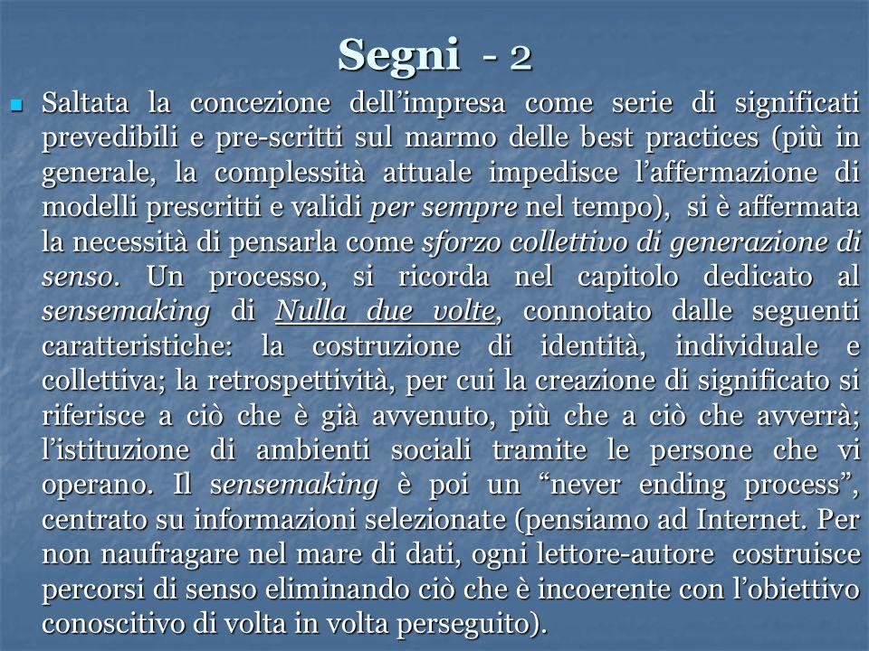 Segni - 2 Saltata la concezione dellimpresa come serie di significati prevedibili e pre-scritti sul marmo delle best practices (più in generale, la co