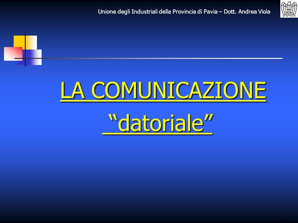 Unione degli Industriali della Provincia di Pavia – Dott. Andrea Viola 1 LA COMUNICAZIONE datoriale datoriale