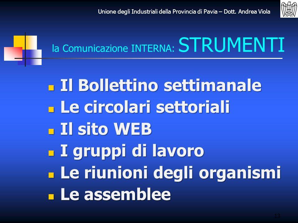 Unione degli Industriali della Provincia di Pavia – Dott. Andrea Viola 13 la Comunicazione INTERNA: STRUMENTI Il Bollettino settimanale Il Bollettino