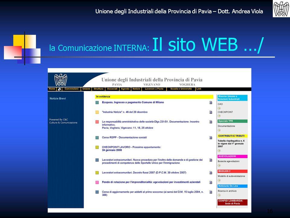 Unione degli Industriali della Provincia di Pavia – Dott. Andrea Viola 16 la Comunicazione INTERNA: Il sito WEB …/