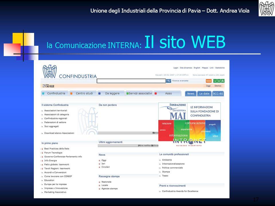 Unione degli Industriali della Provincia di Pavia – Dott. Andrea Viola 17 la Comunicazione INTERNA: Il sito WEB