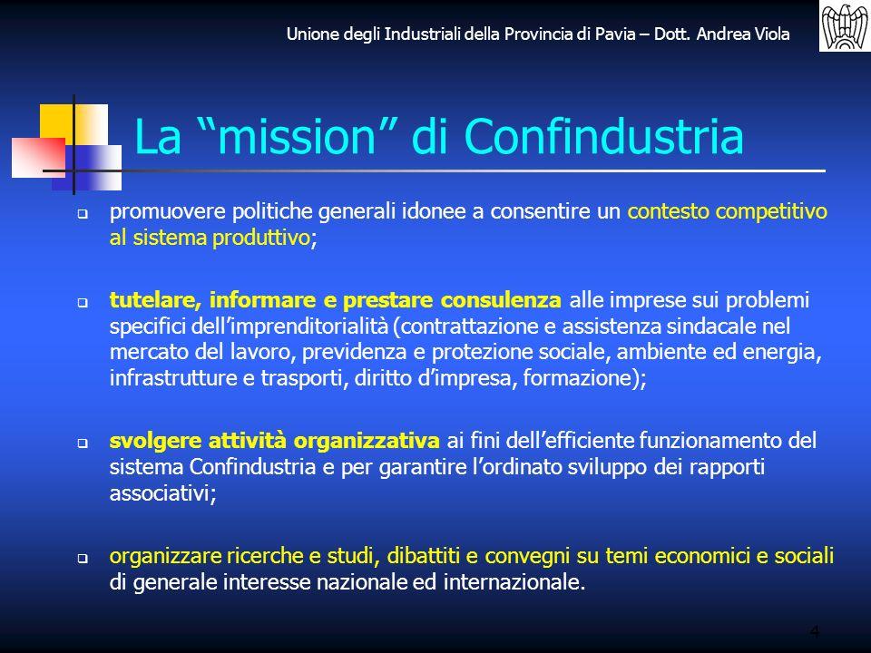Unione degli Industriali della Provincia di Pavia – Dott. Andrea Viola La mission di Confindustria promuovere politiche generali idonee a consentire u