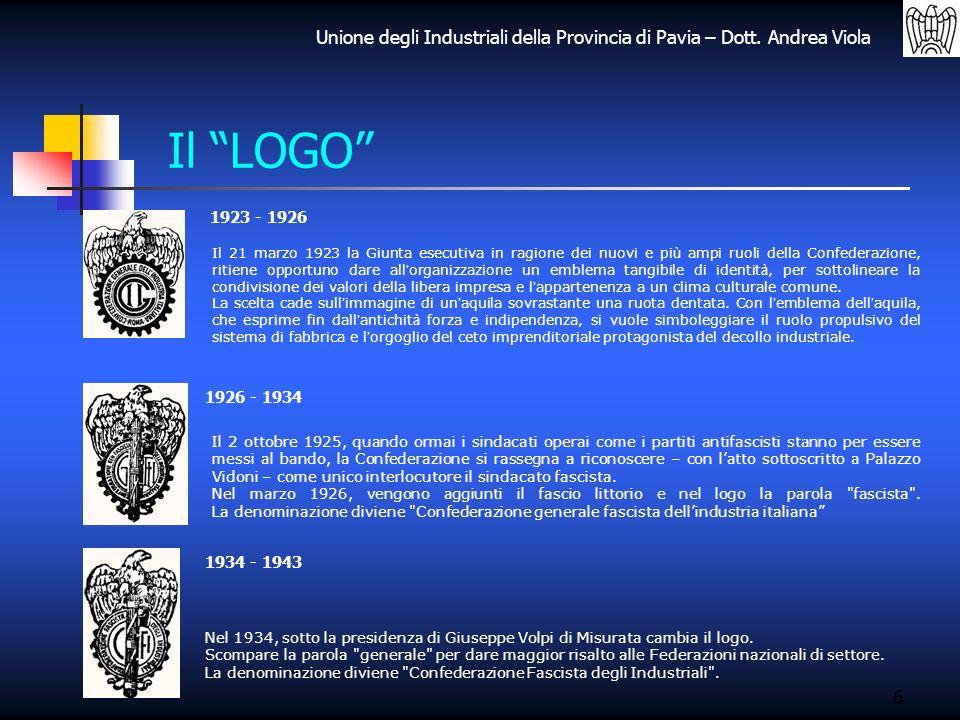 Unione degli Industriali della Provincia di Pavia – Dott. Andrea Viola 6 Il LOGO 1923 - 1926 1926 - 1934 1934 - 1943 Il 21 marzo 1923 la Giunta esecut