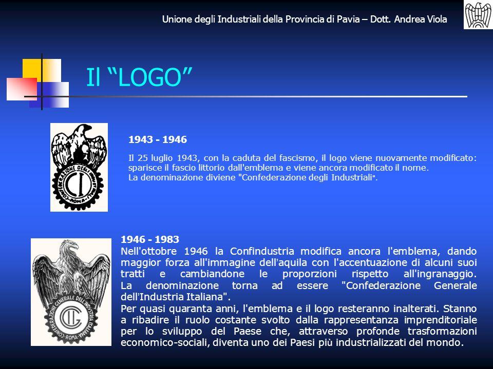 Unione degli Industriali della Provincia di Pavia – Dott. Andrea Viola Il LOGO 1943 - 1946 1946 - 1983 Il 25 luglio 1943, con la caduta del fascismo,