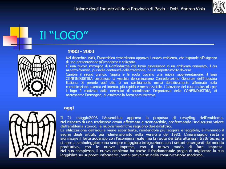 Unione degli Industriali della Provincia di Pavia – Dott. Andrea Viola Il LOGO 1983 - 2003 oggi Nel dicembre 1983, lAssemblea straordinaria approva il