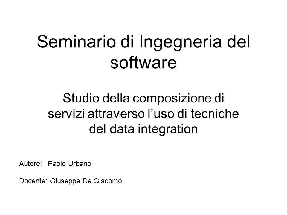Seminario di Ingegneria del software Studio della composizione di servizi attraverso luso di tecniche del data integration Autore:Paolo Urbano Docente: Giuseppe De Giacomo