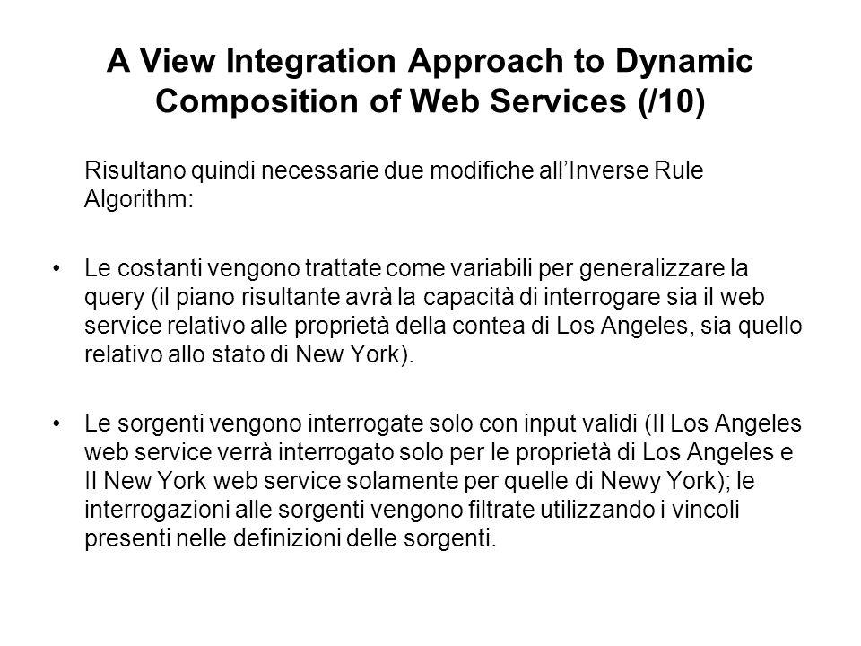 A View Integration Approach to Dynamic Composition of Web Services (/10) Risultano quindi necessarie due modifiche allInverse Rule Algorithm: Le costanti vengono trattate come variabili per generalizzare la query (il piano risultante avrà la capacità di interrogare sia il web service relativo alle proprietà della contea di Los Angeles, sia quello relativo allo stato di New York).