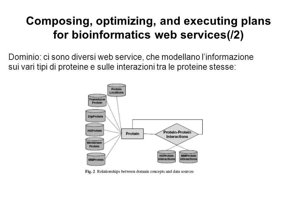 Composing, optimizing, and executing plans for bioinformatics web services(/2) Dominio: ci sono diversi web service, che modellano linformazione sui v
