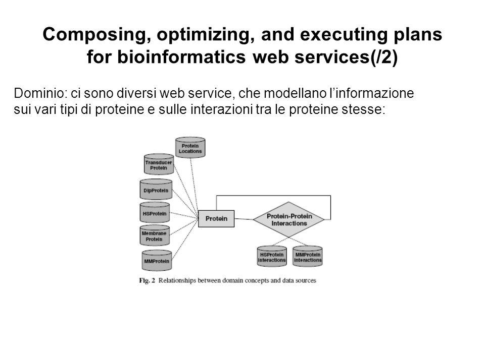 Composing, optimizing, and executing plans for bioinformatics web services(/2) Dominio: ci sono diversi web service, che modellano linformazione sui vari tipi di proteine e sulle interazioni tra le proteine stesse: