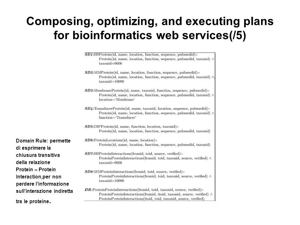 Composing, optimizing, and executing plans for bioinformatics web services(/5) Domain Rule: permette di esprimere la chiusura transitiva della relazione Protein – Protein Interaction,per non perdere linformazione sullinterazione indiretta tra le proteine.
