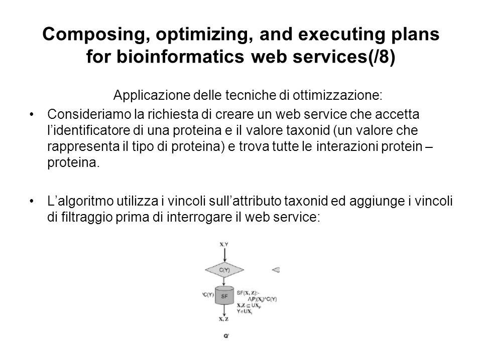 Composing, optimizing, and executing plans for bioinformatics web services(/8) Applicazione delle tecniche di ottimizzazione: Consideriamo la richiesta di creare un web service che accetta lidentificatore di una proteina e il valore taxonid (un valore che rappresenta il tipo di proteina) e trova tutte le interazioni protein – proteina.