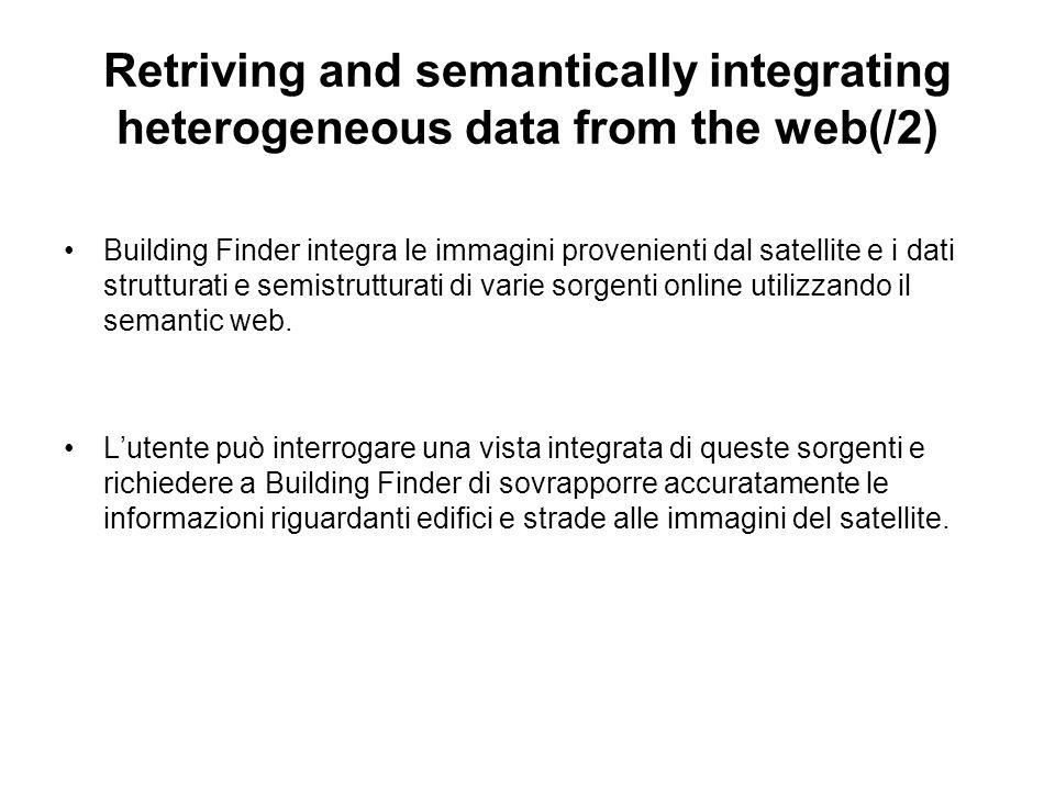 Retriving and semantically integrating heterogeneous data from the web(/2) Building Finder integra le immagini provenienti dal satellite e i dati strutturati e semistrutturati di varie sorgenti online utilizzando il semantic web.