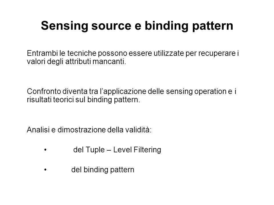 Sensing source e binding pattern Entrambi le tecniche possono essere utilizzate per recuperare i valori degli attributi mancanti.
