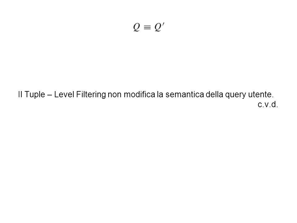 Il Tuple – Level Filtering non modifica la semantica della query utente. c.v.d.