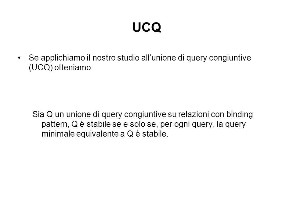 UCQ Se applichiamo il nostro studio allunione di query congiuntive (UCQ) otteniamo: Sia Q un unione di query congiuntive su relazioni con binding pattern, Q è stabile se e solo se, per ogni query, la query minimale equivalente a Q è stabile.