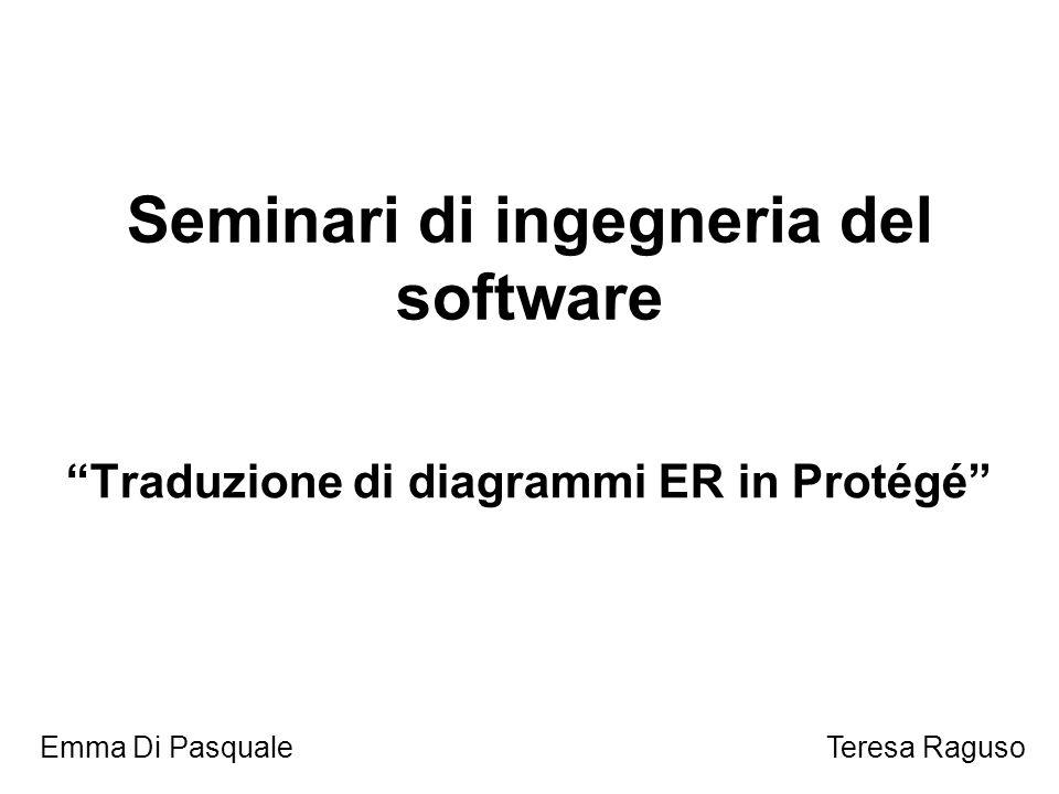 Seminari di ingegneria del software Traduzione di diagrammi ER in Protégé Emma Di PasqualeTeresa Raguso