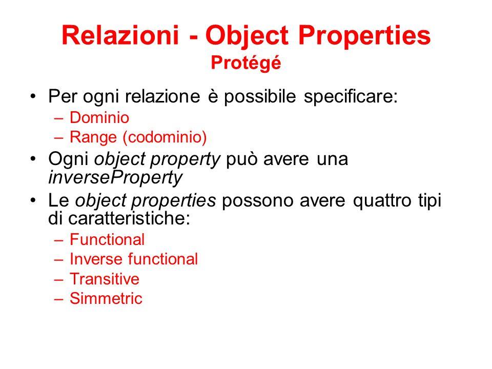 Relazioni - Object Properties Protégé Per ogni relazione è possibile specificare: –Dominio –Range (codominio) Ogni object property può avere una inverseProperty Le object properties possono avere quattro tipi di caratteristiche: –Functional –Inverse functional –Transitive –Simmetric
