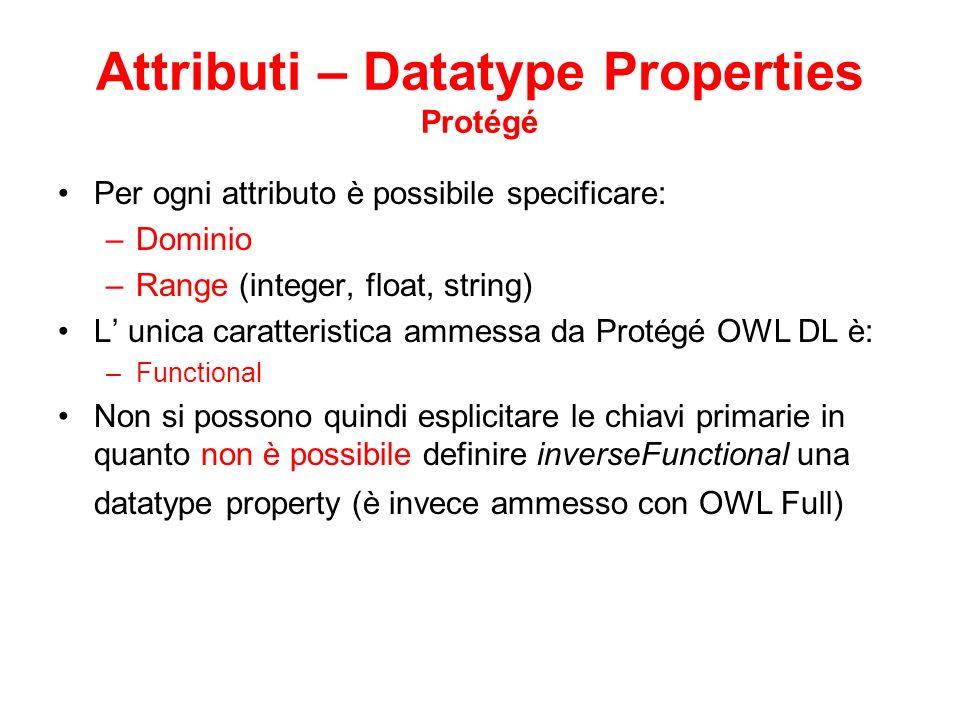 Attributi – Datatype Properties Protégé Per ogni attributo è possibile specificare: –Dominio –Range (integer, float, string) L unica caratteristica ammessa da Protégé OWL DL è: –Functional Non si possono quindi esplicitare le chiavi primarie in quanto non è possibile definire inverseFunctional una datatype property (è invece ammesso con OWL Full)