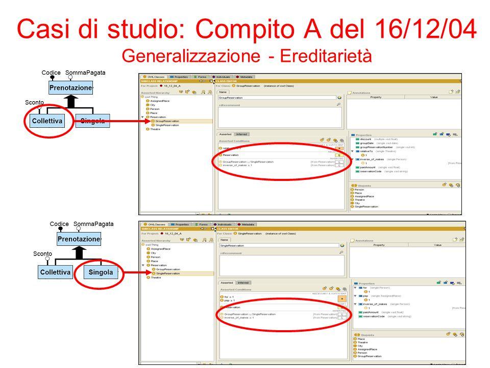 Casi di studio: Compito A del 16/12/04 Generalizzazione - Ereditarietà