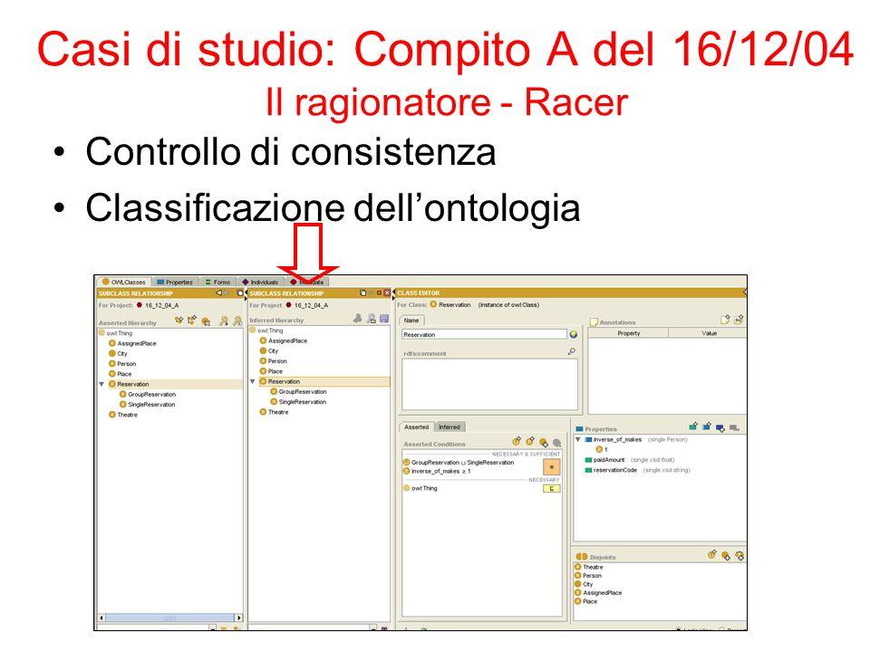 Casi di studio: Compito A del 16/12/04 Il ragionatore - Racer Controllo di consistenza Classificazione dellontologia