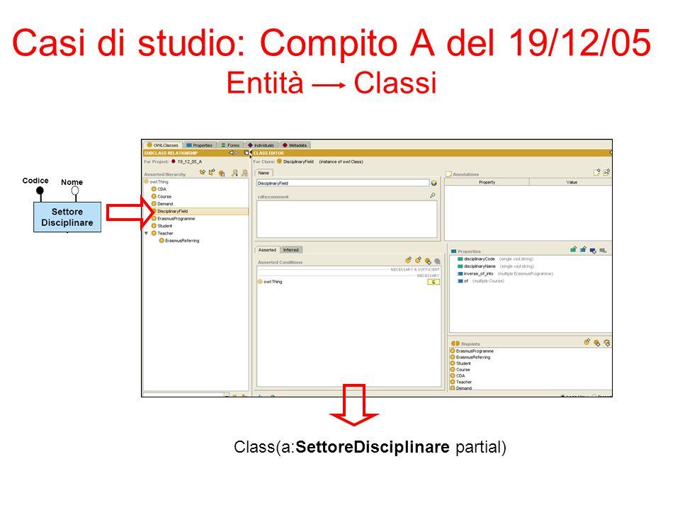 Casi di studio: Compito A del 19/12/05 Entità Classi Class(a:SettoreDisciplinare partial)