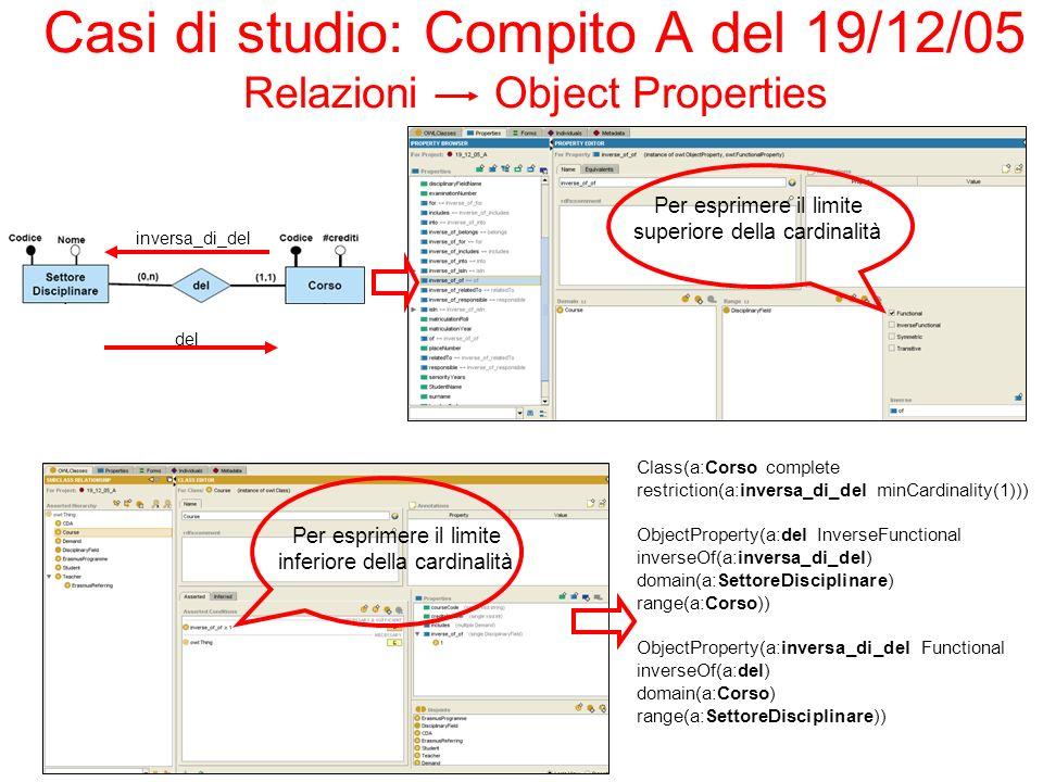 Casi di studio: Compito A del 19/12/05 Relazioni Object Properties Class(a:Corso complete restriction(a:inversa_di_del minCardinality(1))) ObjectProperty(a:del InverseFunctional inverseOf(a:inversa_di_del) domain(a:SettoreDisciplinare) range(a:Corso)) ObjectProperty(a:inversa_di_del Functional inverseOf(a:del) domain(a:Corso) range(a:SettoreDisciplinare)) Per esprimere il limite superiore della cardinalità Per esprimere il limite inferiore della cardinalità del inversa_di_del