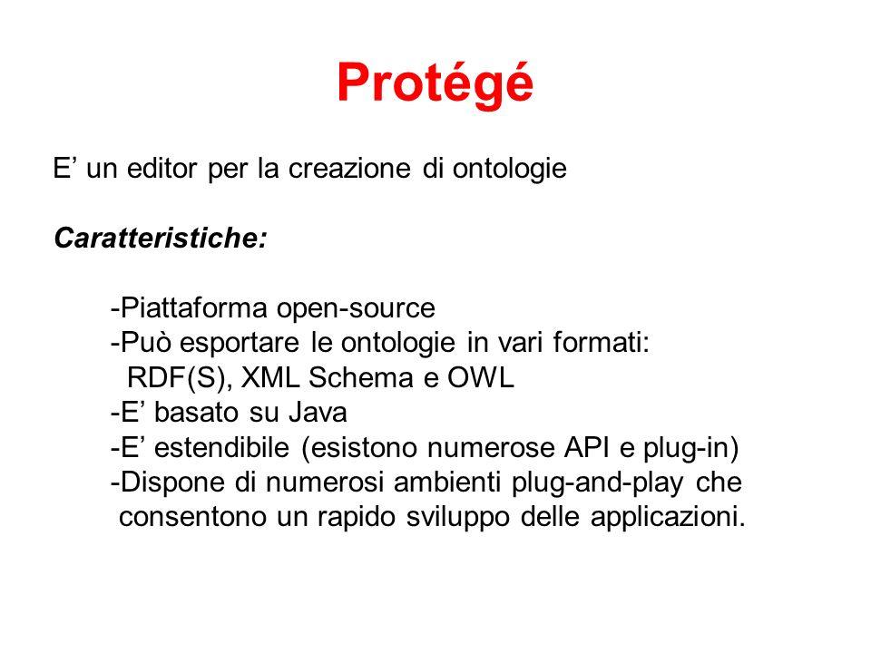 Protégé E un editor per la creazione di ontologie Caratteristiche: -Piattaforma open-source -Può esportare le ontologie in vari formati: RDF(S), XML Schema e OWL -E basato su Java -E estendibile (esistono numerose API e plug-in) -Dispone di numerosi ambienti plug-and-play che consentono un rapido sviluppo delle applicazioni.