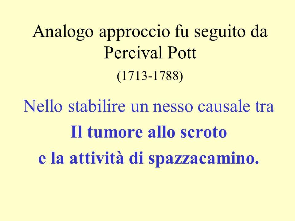 Analogo approccio fu seguito da Percival Pott (1713-1788) Nello stabilire un nesso causale tra Il tumore allo scroto e la attività di spazzacamino.