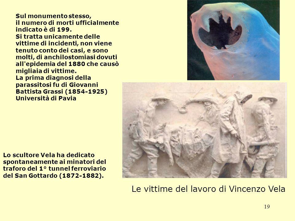 19 Le vittime del lavoro di Vincenzo Vela Lo scultore Vela ha dedicato spontaneamente ai minatori del traforo del 1° tunnel ferroviario del San Gottardo (1872-1882).
