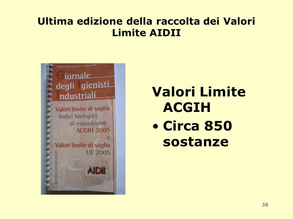 36 Ultima edizione della raccolta dei Valori Limite AIDII Valori Limite ACGIH Circa 850 sostanze