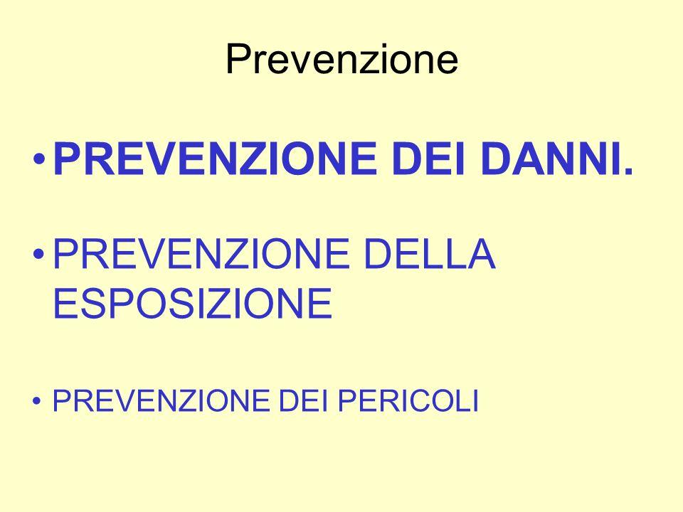 Prevenzione PREVENZIONE DEI DANNI. PREVENZIONE DELLA ESPOSIZIONE PREVENZIONE DEI PERICOLI