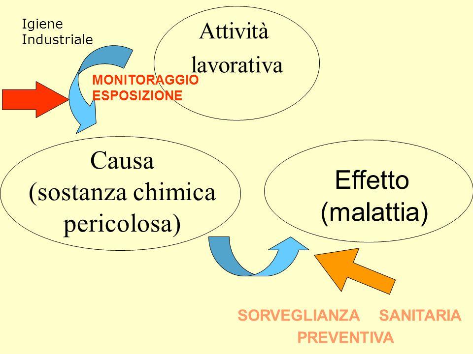 Causa (sostanza chimica pericolosa) Attività lavorativa Effetto (malattia) SORVEGLIANZA SANITARIA PREVENTIVA MONITORAGGIO ESPOSIZIONE Igiene Industriale