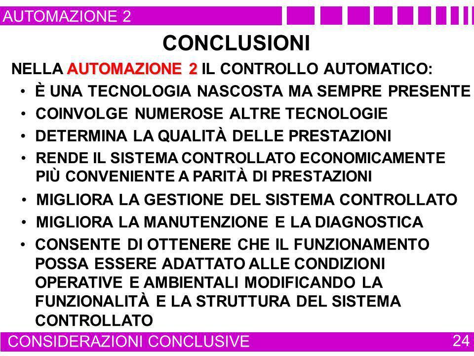AUTOMAZIONE 2 CONSIDERAZIONI CONCLUSIVE 24 CONCLUSIONI AUTOMAZIONE 2 NELLA AUTOMAZIONE 2 IL CONTROLLO AUTOMATICO: È UNA TECNOLOGIA NASCOSTA MA SEMPRE