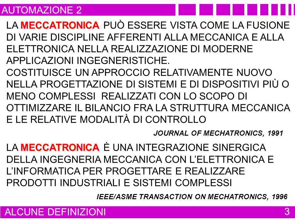 AUTOMAZIONE 2 ALCUNE DEFINIZIONI 4 ATTUALE SIGNIFICATO INTEGRAZIONE SINERGICA IN PARTICOLARI SISTEMI MECCANICI COMPLESSI DI TECNOLOGIE MECCANICHE, ELETTRONICHE E INFORMATICHE CON LE TECNOLOGIE DI COMUNICAZIONE E CON LE METODOLOGIE TIPICHE DEI PROCESSI DECISIONALI NELLA PROGETTAZIONE, GESTIONE E MANUTENZIONE DI APPARATI E IMPIANTI INDUSTRIALI FINALITÀ ESTENDERE LE FUNZIONI CONVENZIONALI AGGIUNGERE NUOVE FUNZIONI REALIZZAZIONE DI STRUTTURE MECCANICHE PIÙ LEGGERE MIGLIORARE LINTERFACCIA UOMO / MACCHINA NUOVE POSSIBILITÀ OPERATIVE