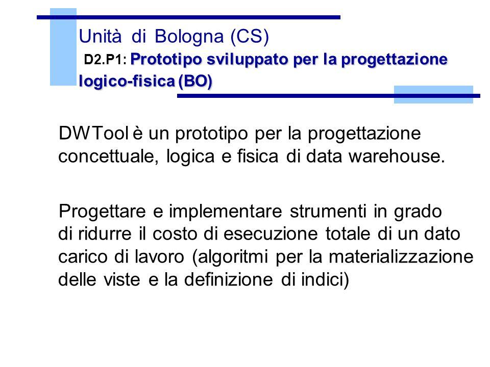 Prototipo sviluppato per la progettazione logico-fisica (BO) Unità di Bologna (CS) D2.P1: Prototipo sviluppato per la progettazione logico-fisica (BO) DWTool è un prototipo per la progettazione concettuale, logica e fisica di data warehouse.