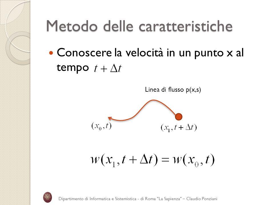 Metodo delle caratteristiche Conoscere la velocità in un punto x al tempo Dipartimento di Informatica e Sistemistica - di Roma