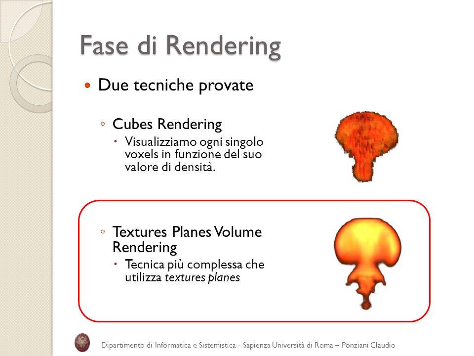 Fase di Rendering Due tecniche provate Cubes Rendering Visualizziamo ogni singolo voxels in funzione del suo valore di densità. Textures Planes Volume