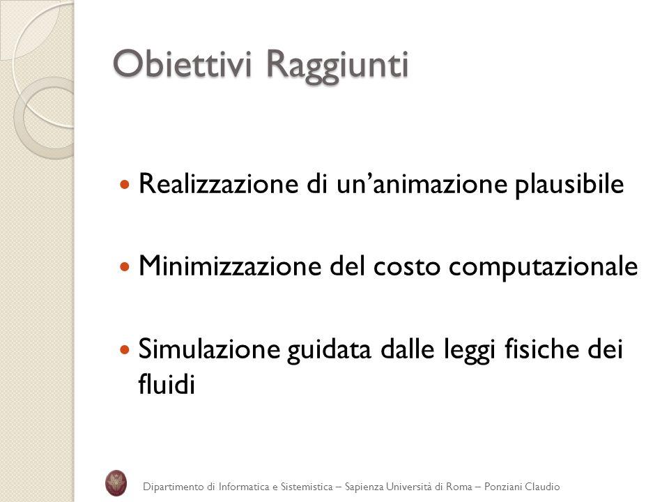 Obiettivi Raggiunti Realizzazione di unanimazione plausibile Minimizzazione del costo computazionale Simulazione guidata dalle leggi fisiche dei fluid