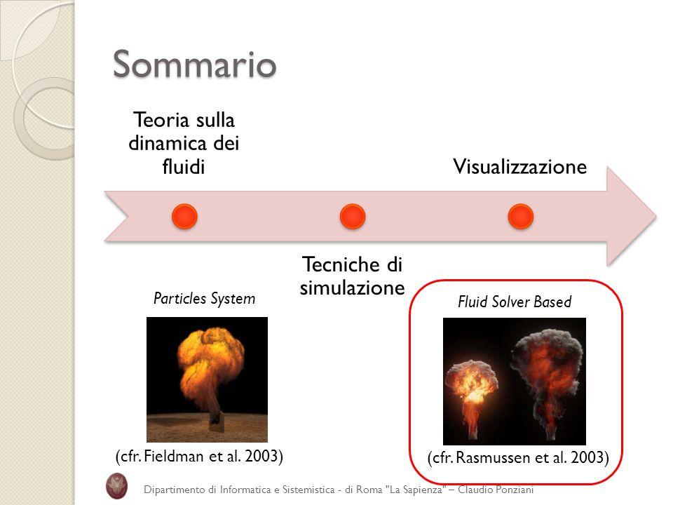 Sommario Teoria sulla dinamica dei fluidi Tecniche di simulazione Visualizzazione Dipartimento di Informatica e Sistemistica - di Roma