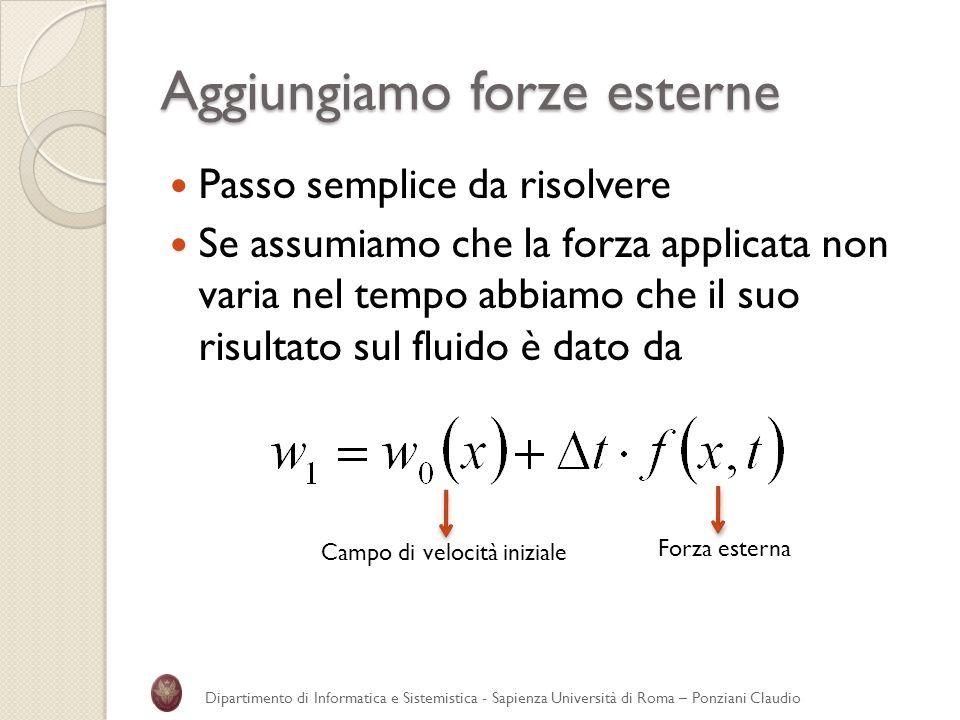 Aggiungiamo forze esterne Passo semplice da risolvere Se assumiamo che la forza applicata non varia nel tempo abbiamo che il suo risultato sul fluido
