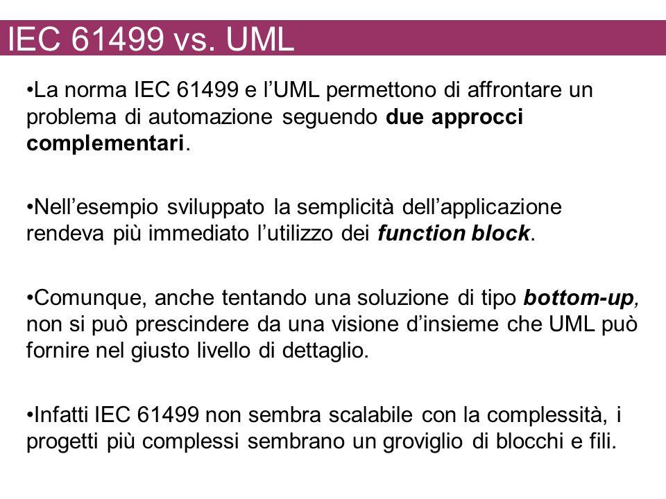 IEC 61499 vs. UML La norma IEC 61499 e lUML permettono di affrontare un problema di automazione seguendo due approcci complementari. Nellesempio svilu