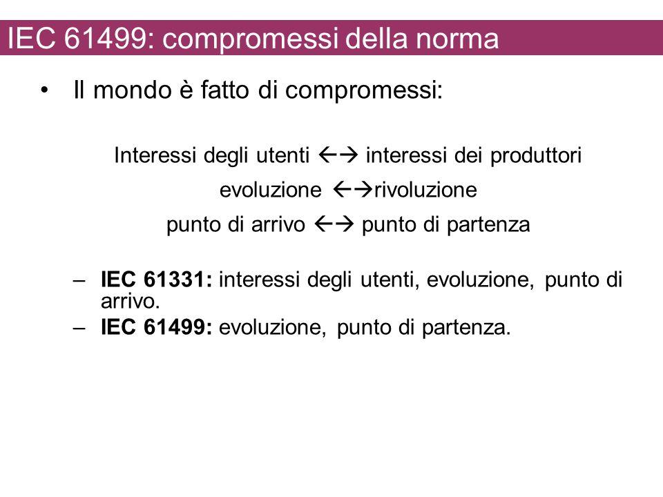 IEC 61499: compromessi della norma Il mondo è fatto di compromessi: Interessi degli utenti interessi dei produttori evoluzione rivoluzione punto di arrivo punto di partenza –IEC 61331: interessi degli utenti, evoluzione, punto di arrivo.