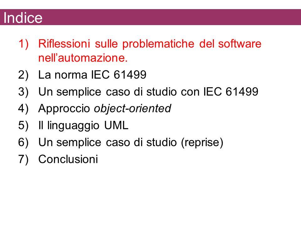 Indice 1)Riflessioni sulle problematiche del software nellautomazione. 2)La norma IEC 61499 3)Un semplice caso di studio con IEC 61499 4)Approccio obj