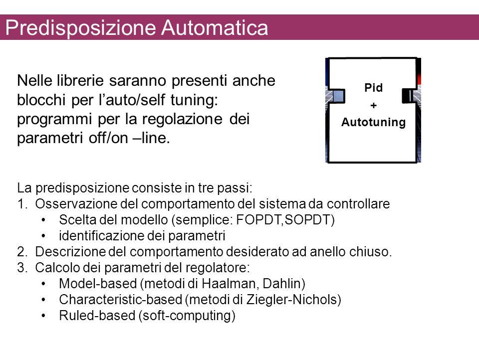 Predisposizione Automatica Nelle librerie saranno presenti anche blocchi per lauto/self tuning: programmi per la regolazione dei parametri off/on –lin