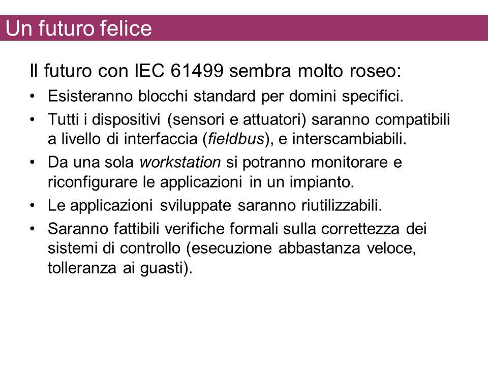 Un futuro felice Il futuro con IEC 61499 sembra molto roseo: Esisteranno blocchi standard per domini specifici. Tutti i dispositivi (sensori e attuato