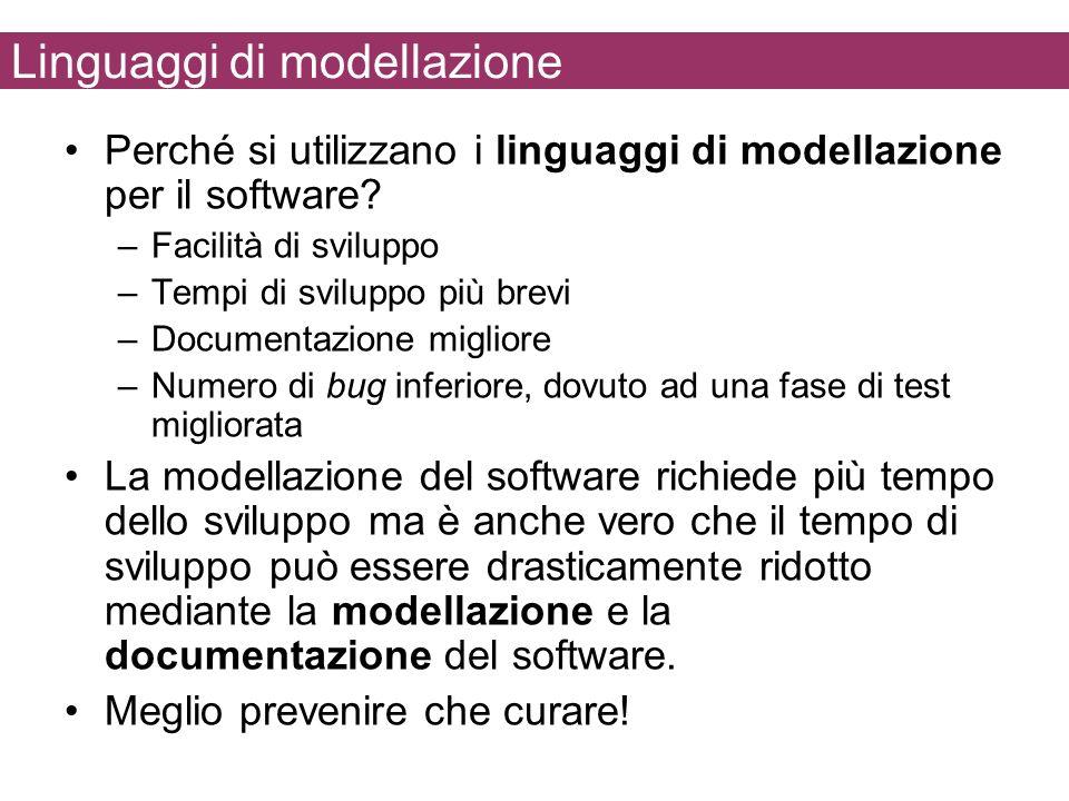 Linguaggi di modellazione Perché si utilizzano i linguaggi di modellazione per il software? –Facilità di sviluppo –Tempi di sviluppo più brevi –Docume