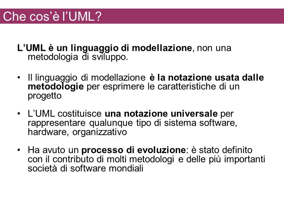 Che cosè lUML? LUML è un linguaggio di modellazione, non una metodologia di sviluppo. Il linguaggio di modellazione è la notazione usata dalle metodol