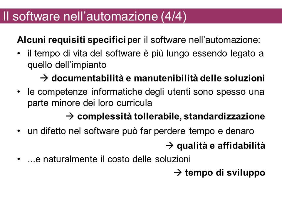 Il software nellautomazione (4/4) Alcuni requisiti specifici per il software nellautomazione: il tempo di vita del software è più lungo essendo legato